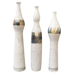 Set of Three Bottle-Shaped Vases by Bruno Gambone, circa 1990s