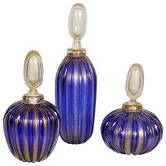 Set of Three Bottles in Murano Glass