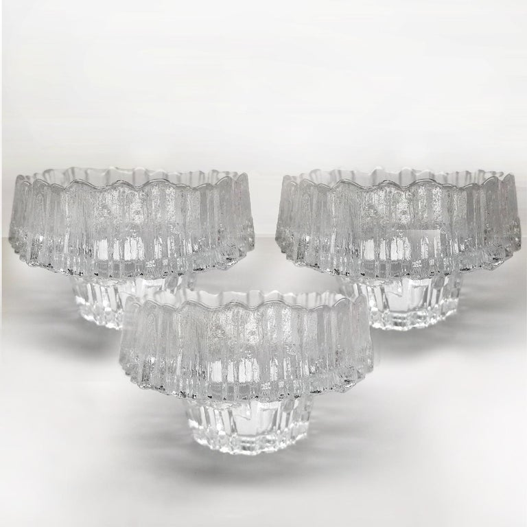 Set of Three Bowls or Candlesticks by Wirkkala for Littala, Finland, 1970s In Good Condition For Sale In Rijssen, NL