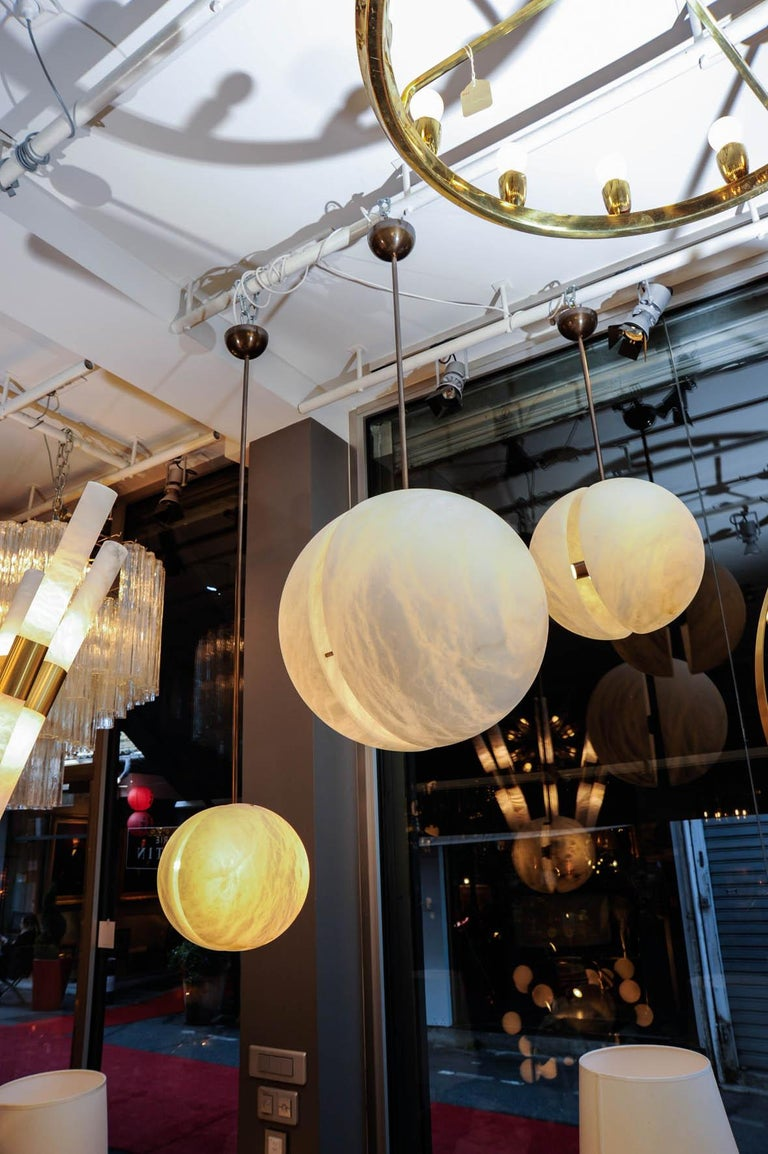 Modern Set of Three Brass and Alabaster Half Spheres Suspensions by Glustin Luminaires For Sale