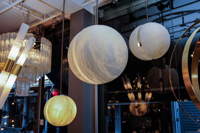 Italian Set of Three Brass and Alabaster Half Spheres Suspensions by Glustin Luminaires For Sale