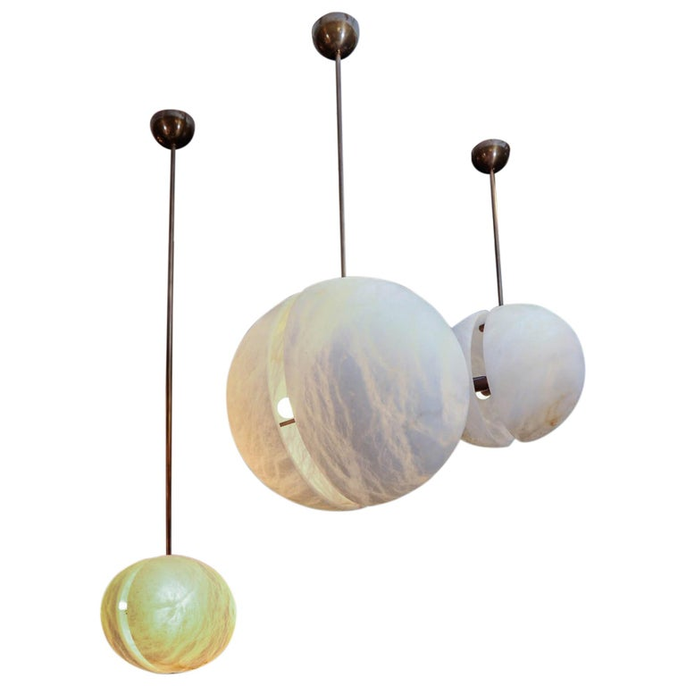 Set of Three Brass and Alabaster Half Spheres Suspensions by Glustin Luminaires For Sale