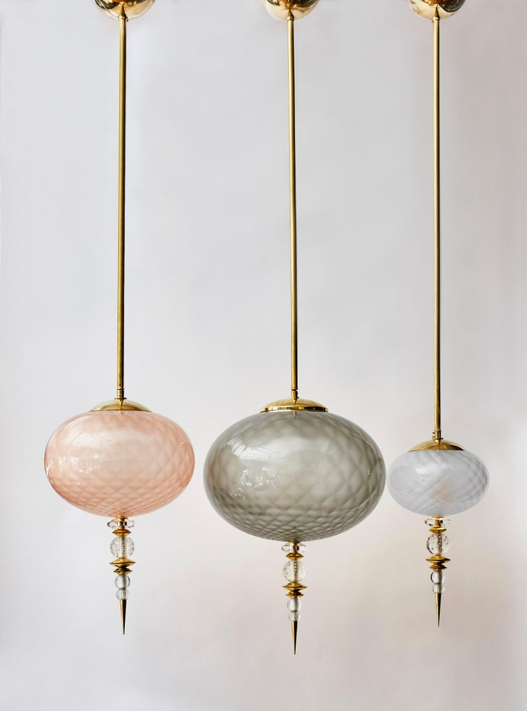 Mid-Century Modern Set of Three Brass and Colored Murano Glass Suspensions For Sale