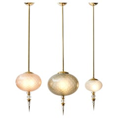 Set of Three Brass and Colored Murano Glass Suspensions