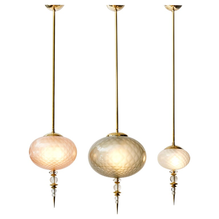 Set of Three Brass and Colored Murano Glass Suspensions For Sale