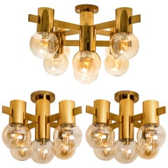 Set of Three Brass and Glass Light Fixtures in the Style of Jacobsson, 1960s