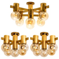 Set of Three Brass and Glass Light Fixtures in the Style of Jakobsson, 1960s