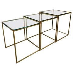 Set of Three Brass and Glass Nesting Side Tables, Italy, 1960s