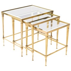 Set of Three Brass and Glass Nesting Tables