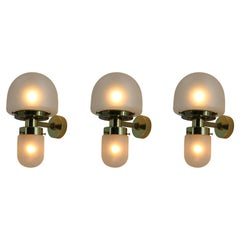 Set of Three Brass and Glass Wall Lamps by Kamenicky Senov, 1960s