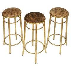 Set of Three Brass and Hide Round Barstools