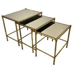 Set of Three Brass and Mirror Nesting Coffee Table by Maison Baguès France 1960s