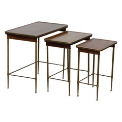 Set of Three Brass and Wood Mid-Century Modern Nesting Tables, circa 1960