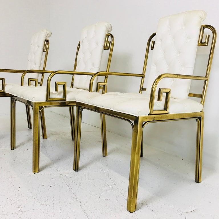 Mid-Century Modern Set of Three Brass Greek Key Chairs by Mastercraft For Sale