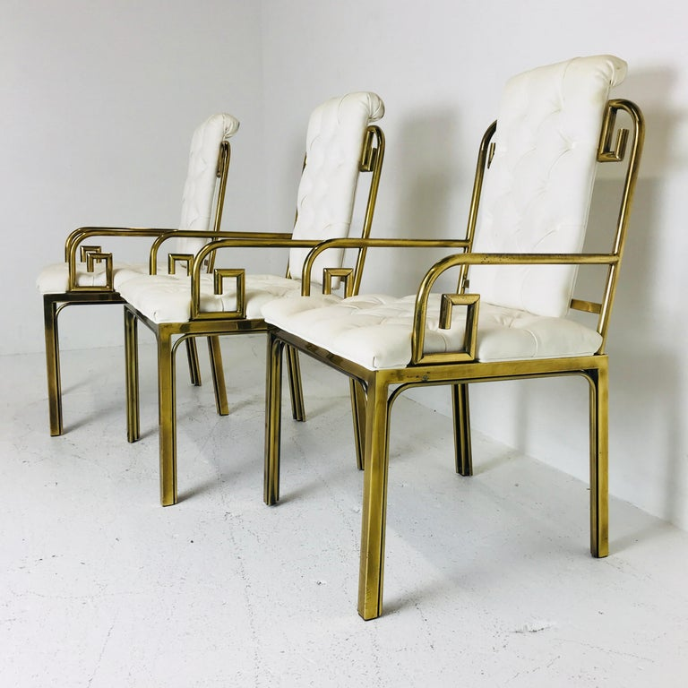 Plated Set of Three Brass Greek Key Chairs by Mastercraft For Sale