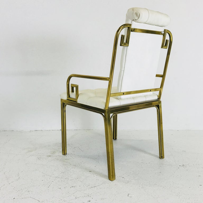Set of Three Brass Greek Key Chairs by Mastercraft In Good Condition For Sale In Dallas, TX