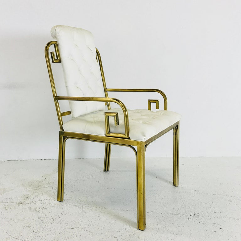 20th Century Set of Three Brass Greek Key Chairs by Mastercraft For Sale