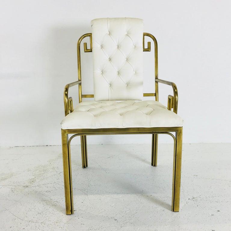 Set of Three Brass Greek Key Chairs by Mastercraft For Sale 1