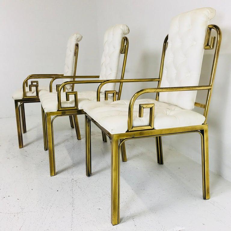 Set of Three Brass Greek Key Chairs by Mastercraft For Sale 2