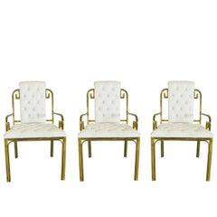 Set of Three Brass Greek Key Chairs by Mastercraft
