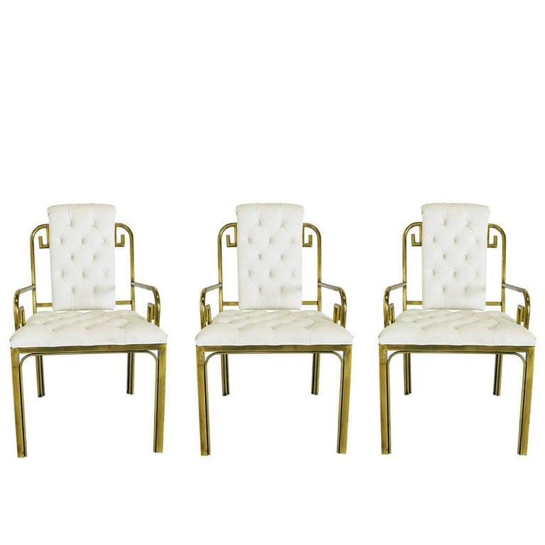 Set of Three Brass Greek Key Chairs by Mastercraft For Sale