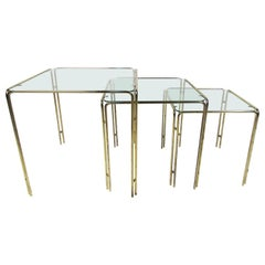 Set of Three Brass Nesting Tables