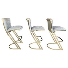 Set of Three Brass Stools in the Style of Pierre Cardin