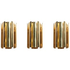 Set of Three Brass Wall Sconces by Falkenbergs Belysning
