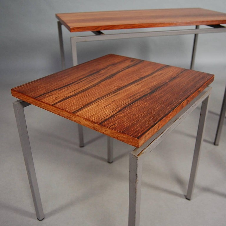 Set of Three Brazilian Rosewood Nesting Tables, circa 1950 For Sale 3