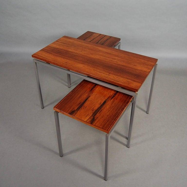 Dutch Set of Three Brazilian Rosewood Nesting Tables, circa 1950 For Sale