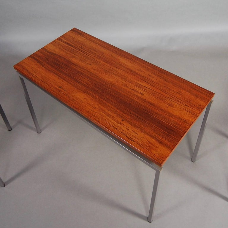 Metal Set of Three Brazilian Rosewood Nesting Tables, circa 1950 For Sale