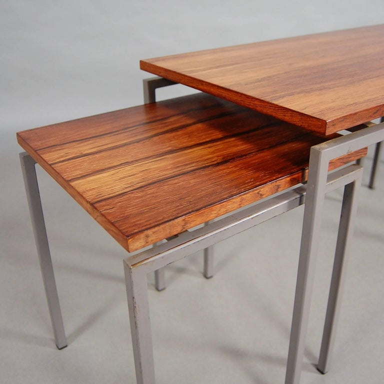Set of Three Brazilian Rosewood Nesting Tables, circa 1950 For Sale 1