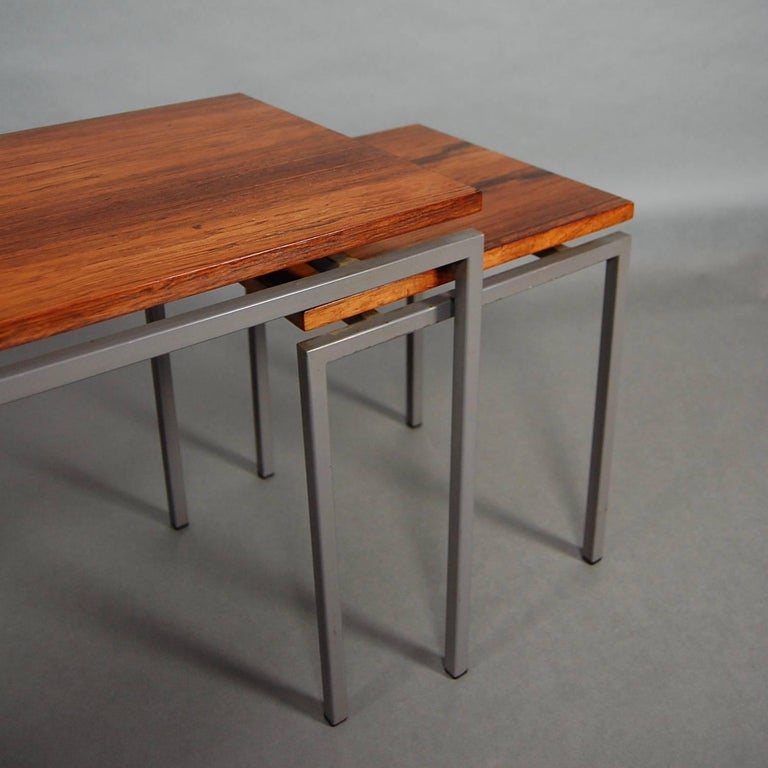 Set of Three Brazilian Rosewood Nesting Tables, circa 1950 For Sale 2