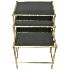 Set of Three Bronze Faux Bamboo Nesting Tables and Stacking Tables