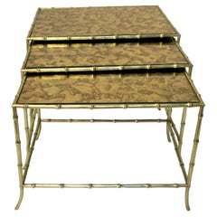 Set of Three Bronze faux Bamboo Nesting Tables with by Maison Baguès