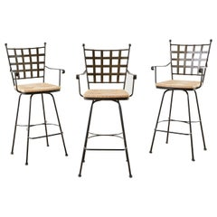 Set of Three Bronzed Iron Swivel Bar Stools