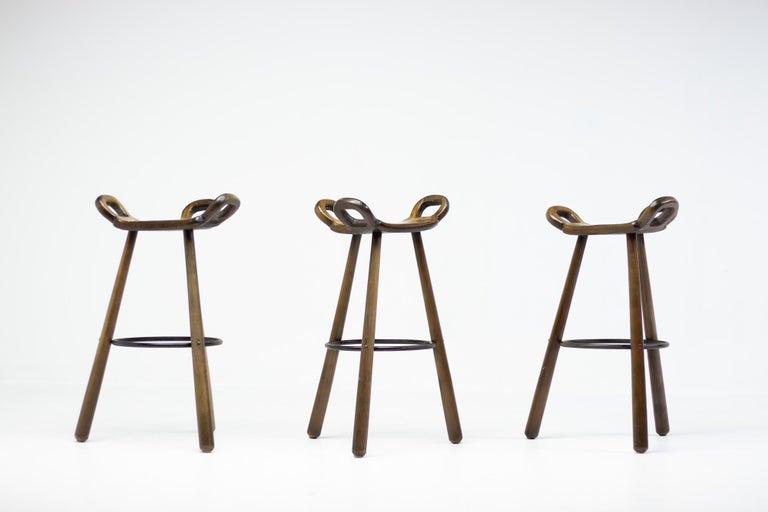 Mid-Century Modern Spanish handcrafted brutalist bar stools