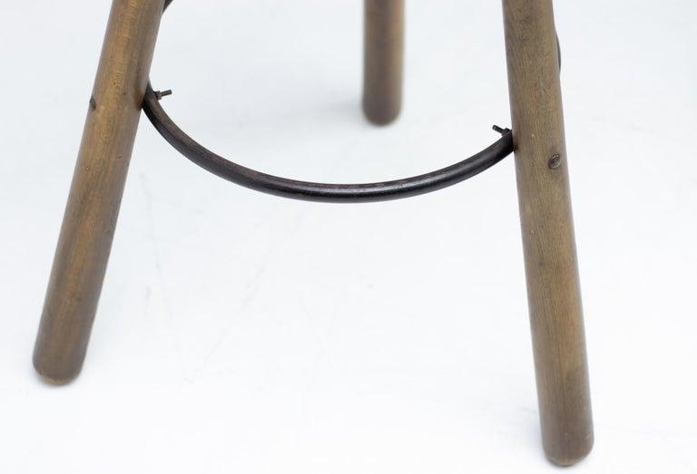 Stained Set of Three Brutalist Bar Stools For Sale