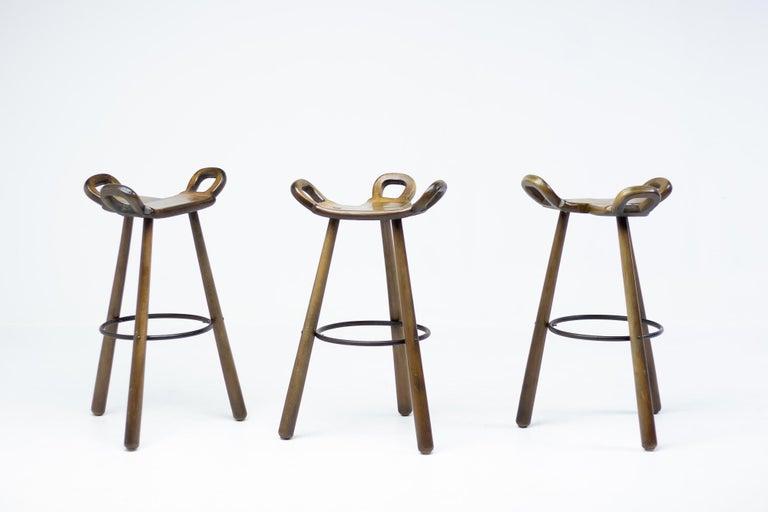 Mid-20th Century Set of Three Brutalist Bar Stools For Sale