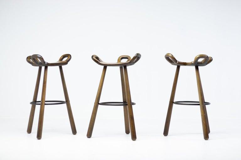 Set of Three Brutalist Bar Stools For Sale 1