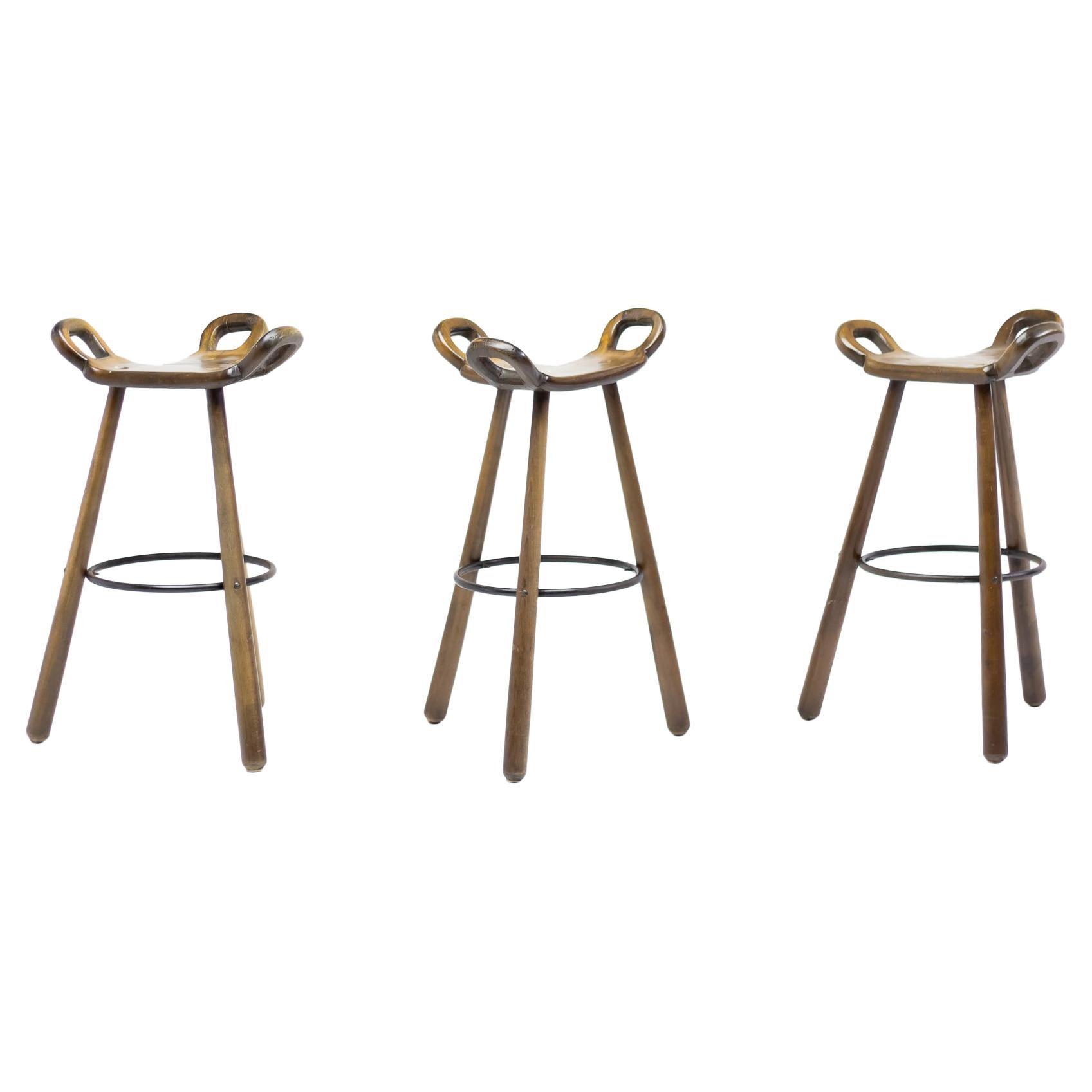 Set of Three Brutalist Bar Stools