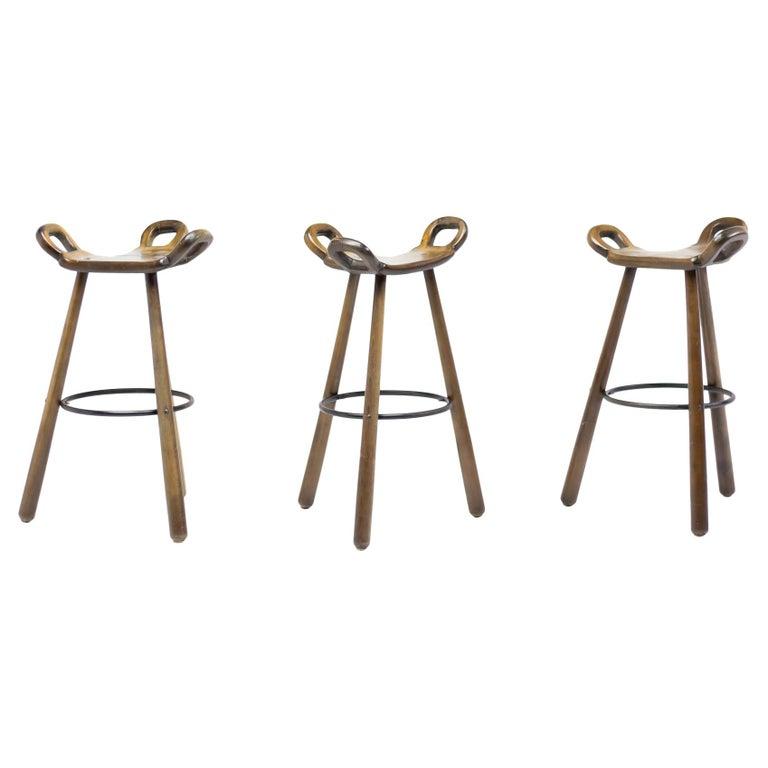 Set of Three Brutalist Bar Stools For Sale