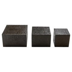 Set of Three Brutalist Coffee Tables in Black Resin