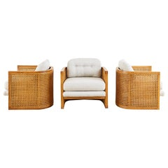 Set of Three Caned Oak Barrel Lounge Chairs