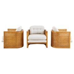 Set of Three Caned Oak Barrel Lounge Chairs