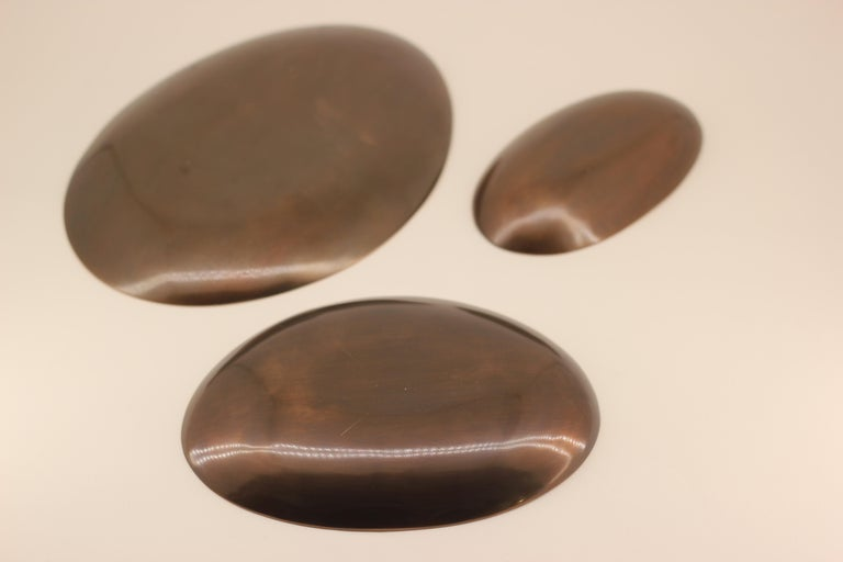 Organic Modern Set of Three Cast Bronze Plates, Vide-Poche For Sale