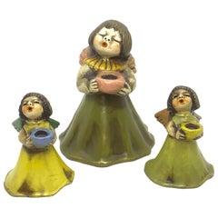 Set of three Ceramic Cherub Angel Candle Stick by Thun, Italy, 1960s