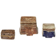 Set of Three Ceramic Jewelry Boxes Blue and Brown by Barbara Delfosse La Borne