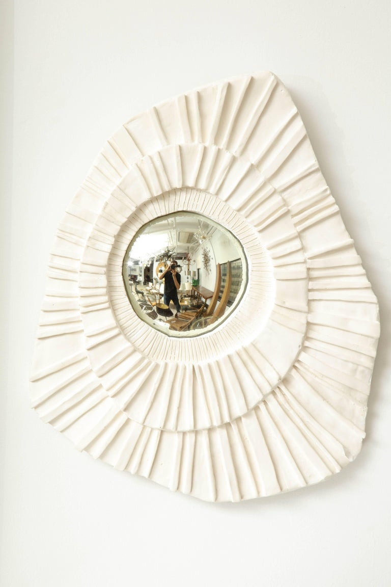 French Set of Three Ceramic Mirrors For Sale