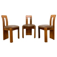 Set of Three Chairs in Bleached Walnut and Leather Attributed to Carla Scarpa